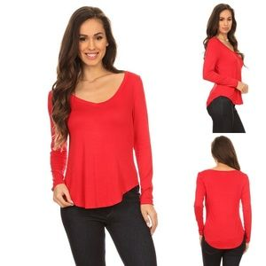 Tops - Red Rayon Blend Solid V Neck Tee Top